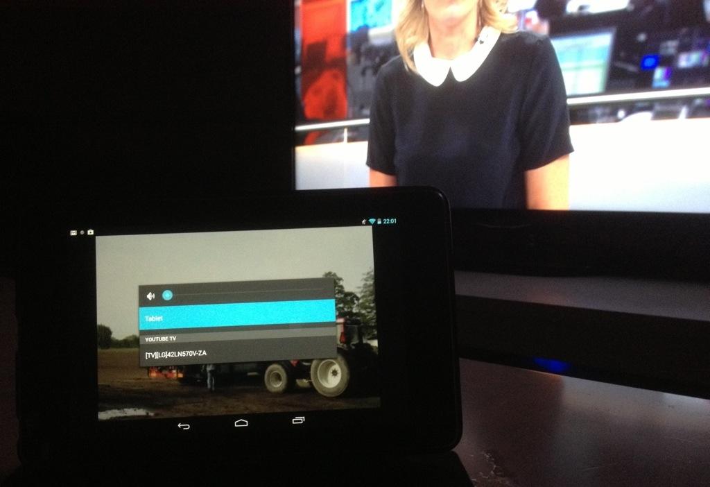 Nexus 7 viser youtube videoer på LG smart tv
